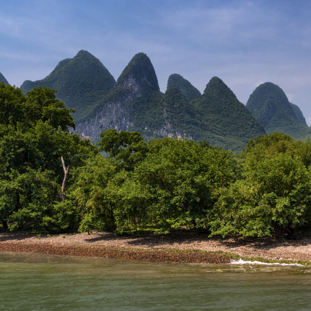 """""""View of the Li River with the tall limestone peaks on the background near Yangshuo, China, Asia; Concept for travel in China"""" stock image"""