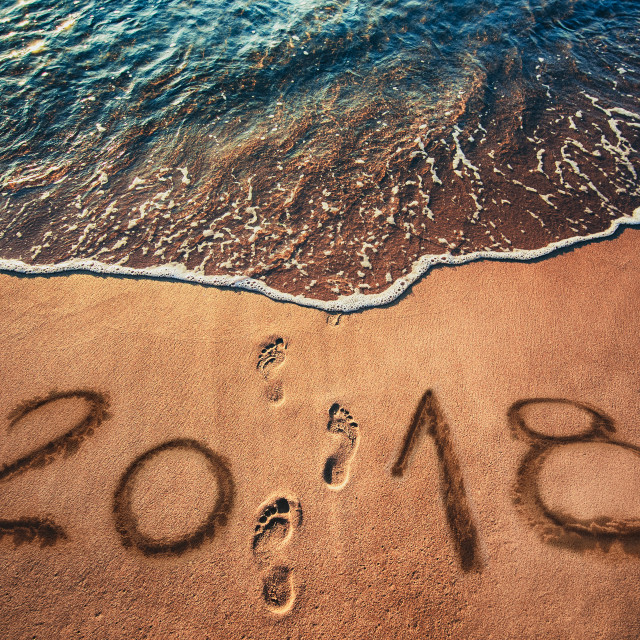 """""""Happy New Year 2018 concept on the sea beach at sunrise"""" stock image"""