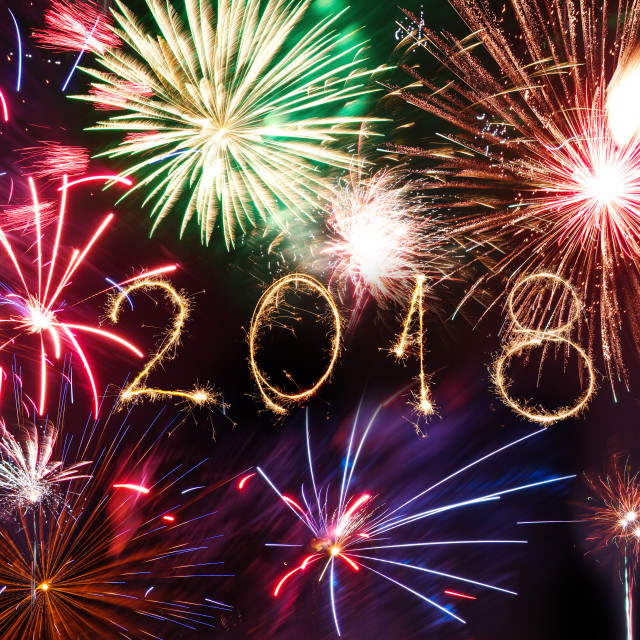 """""""Happy new year 2018 written with Sparkle firework on black backg"""" stock image"""