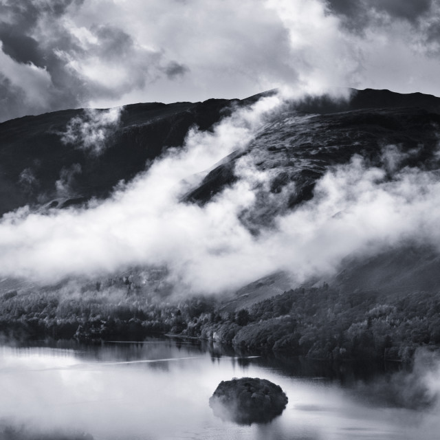"""The Lakes in the mist"" stock image"