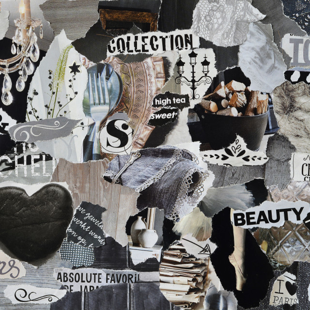 """Black and grey collage moodboard"" stock image"