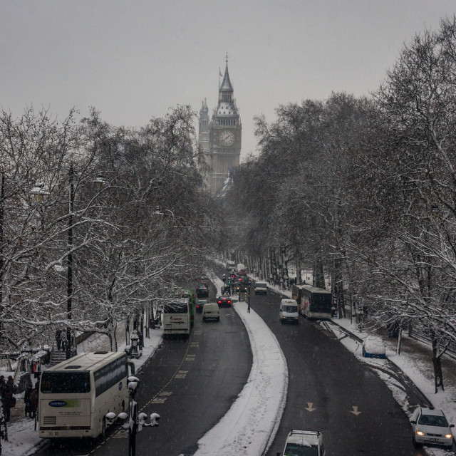 """Snow Trail To Westminster"" stock image"