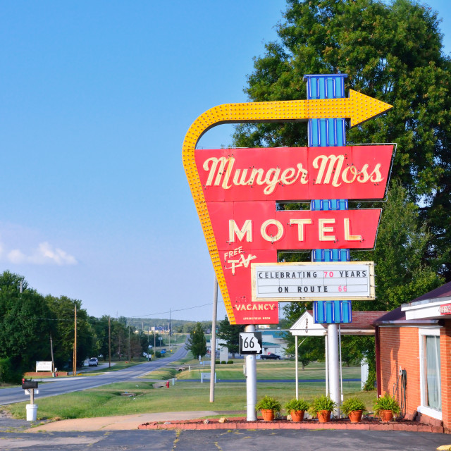 """""""Munger Moss Motel and vintage neon sign."""" stock image"""