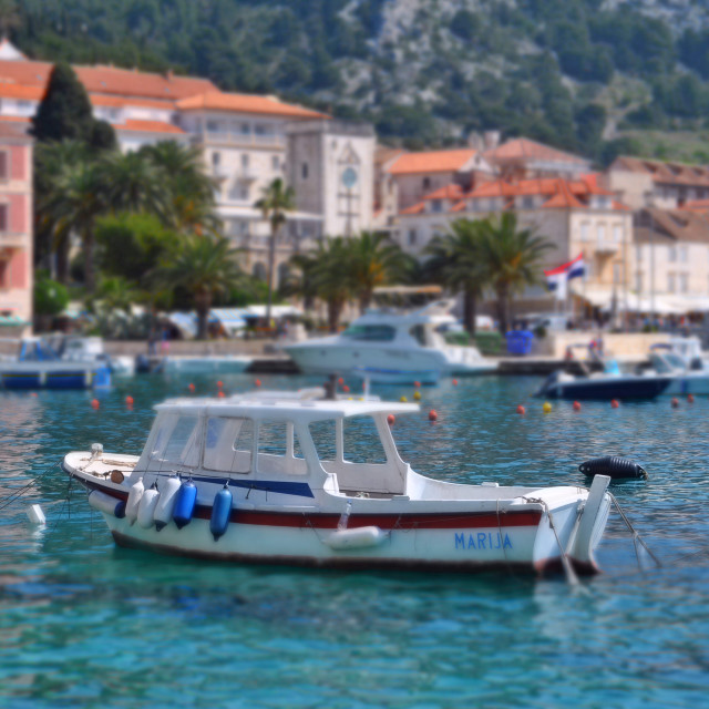"""Boats in harbour Hvar town"" stock image"