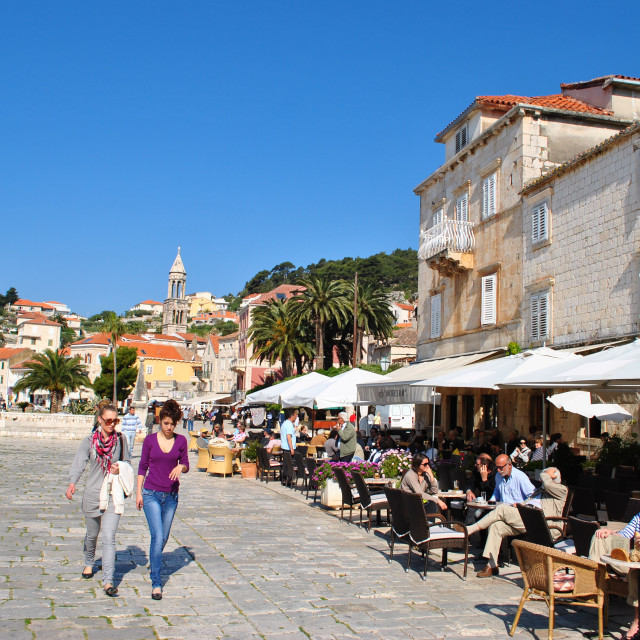 """Tourists in old town Hvar"" stock image"