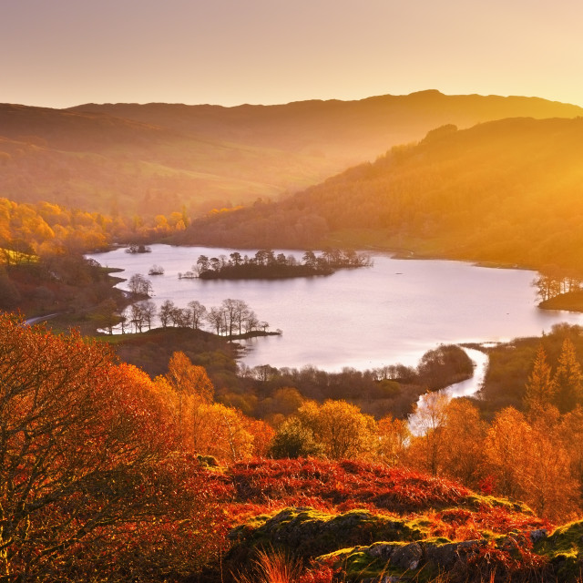 """Rydal Water at sunrise, Lake District"" stock image"