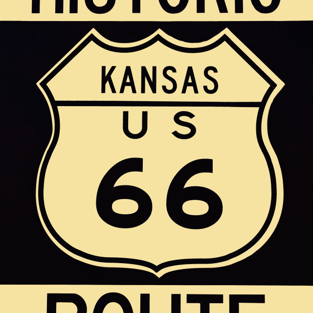 """""""Old historic Route 66 sign."""" stock image"""