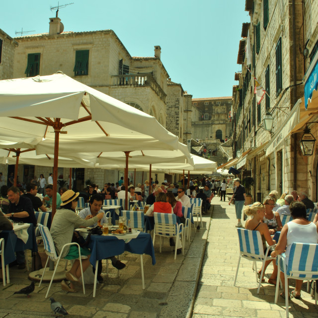 """People sitting in pavement café, Dubrovnik, Croatia"" stock image"