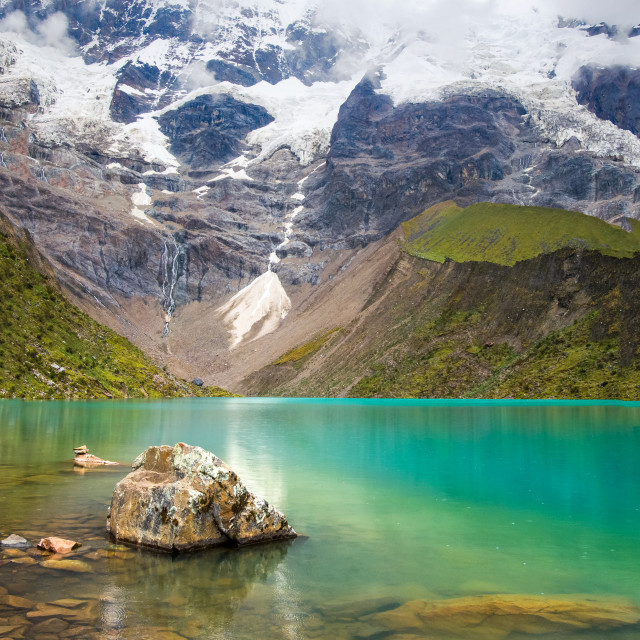 """Humantay lake in Peru on Salcantay mountain in the Andes"" stock image"