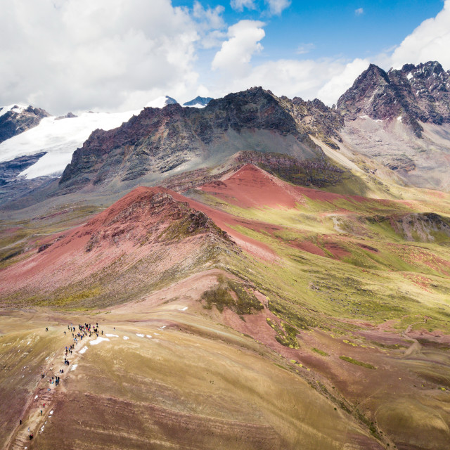 """Massive Andes peaks next to Rainbow mountain in Peru"" stock image"