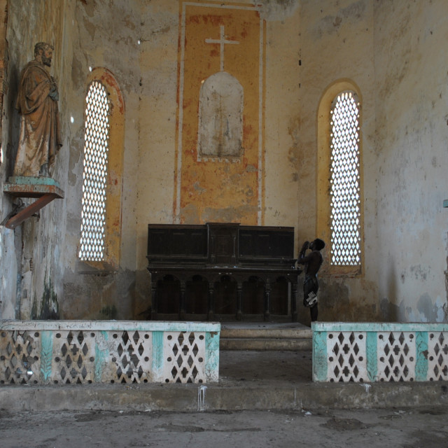 """Church on the island of Carabane (Karabane) , in southern Senega"" stock image"