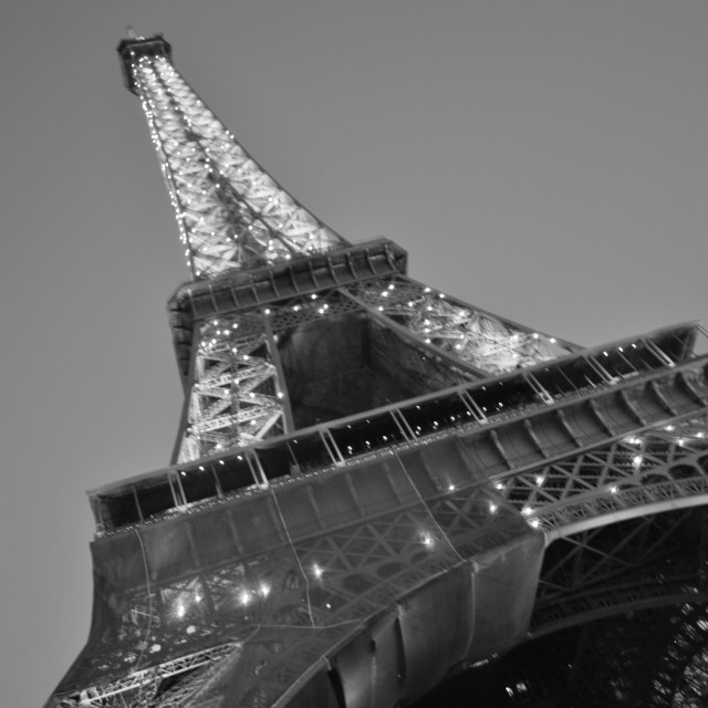 """The Effiel Tower at night. Black & White"" stock image"