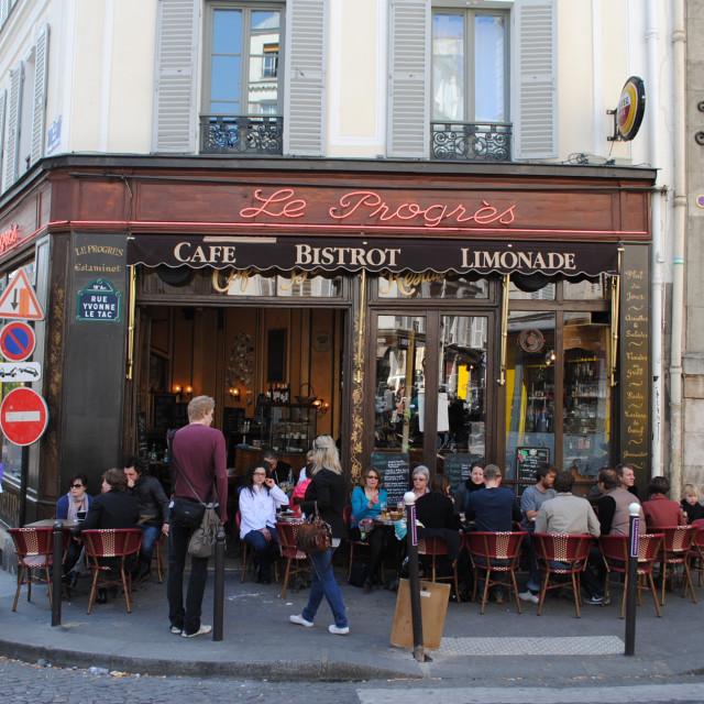 """Parisian Café, Montmartre, Paris, France"" stock image"