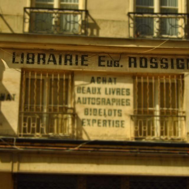 """Bookshop Eug. Rossignol, Rue de l'Odéon, 6eme, Paris, France"" stock image"