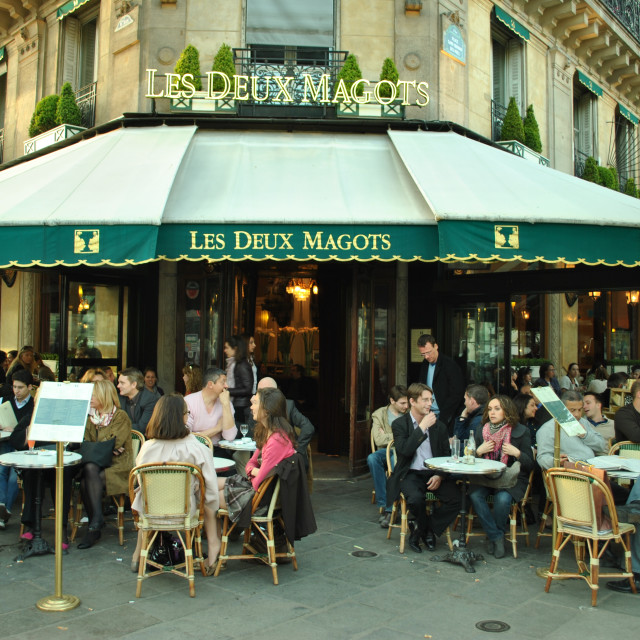 """Les Deux Magots Restaurant, Paris, France"" stock image"
