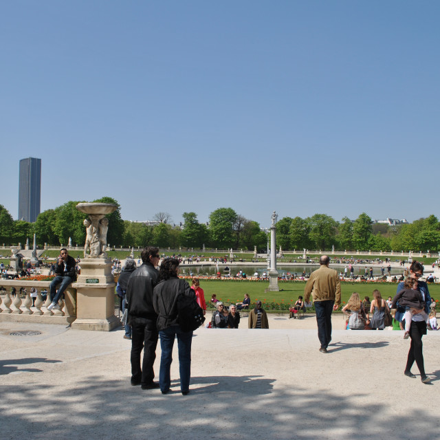 """Crowds in Jardin des Tulleries in Paris"" stock image"