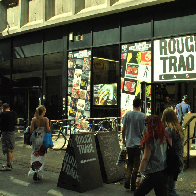 """Rough Trade Record Music Shop, Dray Walk in Old Truman Brewery off Brick Lane, London, England, UK"" stock image"