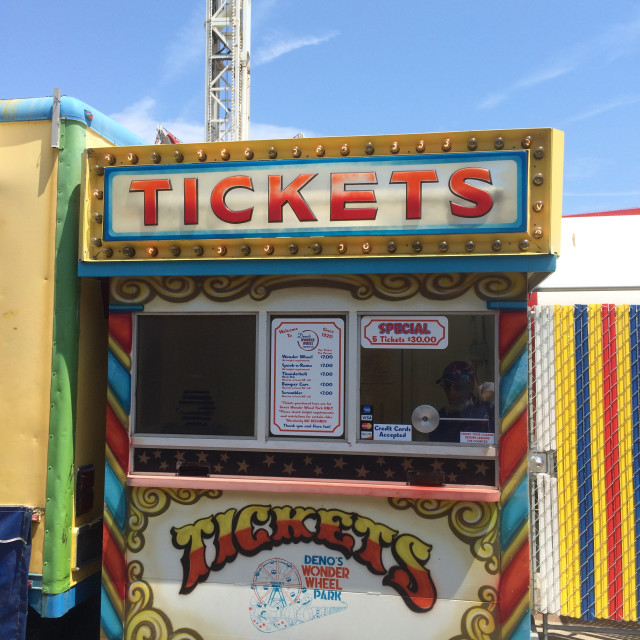 """Ticket Booth for Amusements at Coney Island"" stock image"