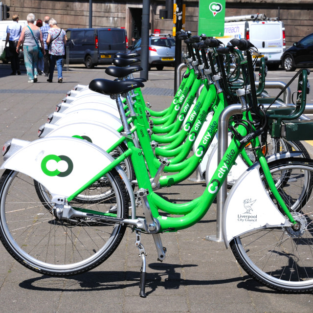"""""""City centre cycle hire, Liverpool"""" stock image"""