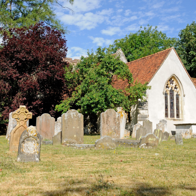 """St Mary the Virgin Church and churchyard, Turville, Buckinghamshire, England"" stock image"