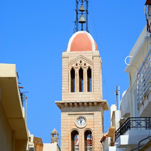 """Megalos Antonios church bell tower, Rethymno, Crete"" stock image"