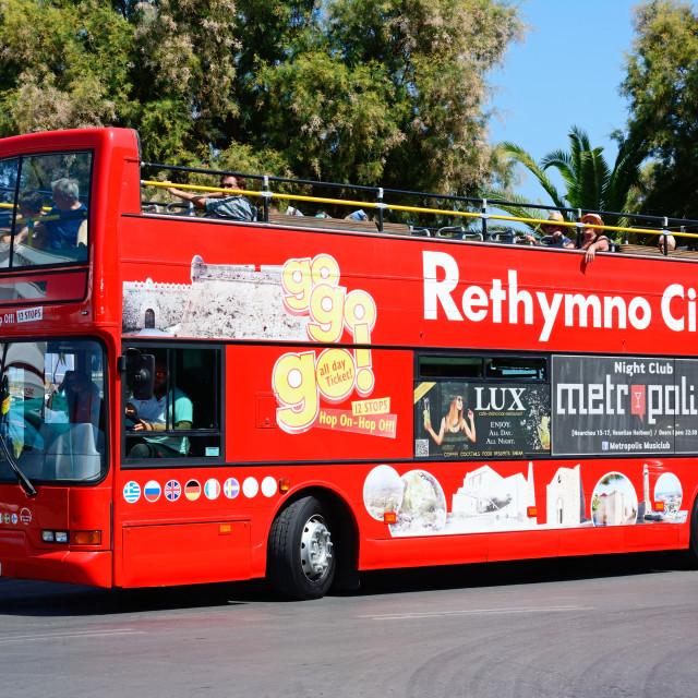 """Rethymno City Tour bus, Crete"" stock image"