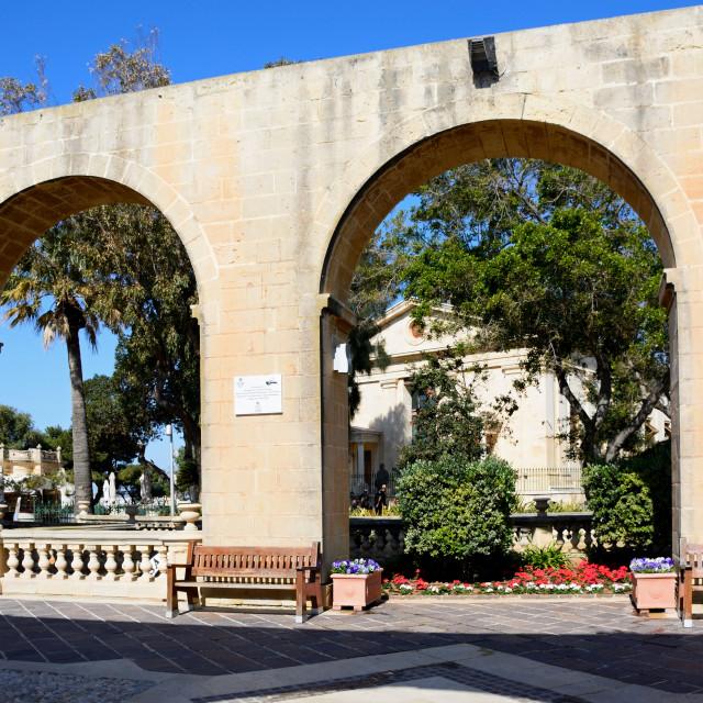 """""""Upper Barrakka Gardens in Valetta, Malta"""" stock image"""