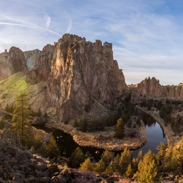 """Smith Rock Sunset Panorama"" stock image"