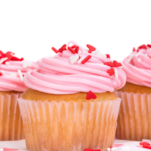 """Pink Valentines Day cupcakes with sprinkles"" stock image"