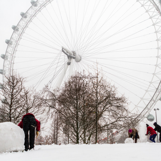"""London Eye In The Snow"" stock image"