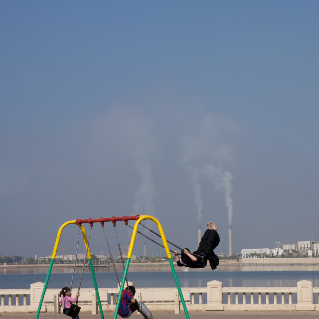 """Having fun on the jeddah corniche on friday, Saudi arabia"" stock image"