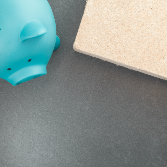 """piggy bank and insulation materials - money saving concept"" stock image"