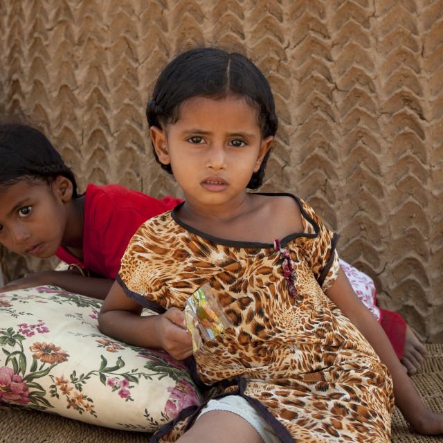 """""""Yemeni refugees in abo agros village, Tihama coast, Saudi arabia"""" stock image"""