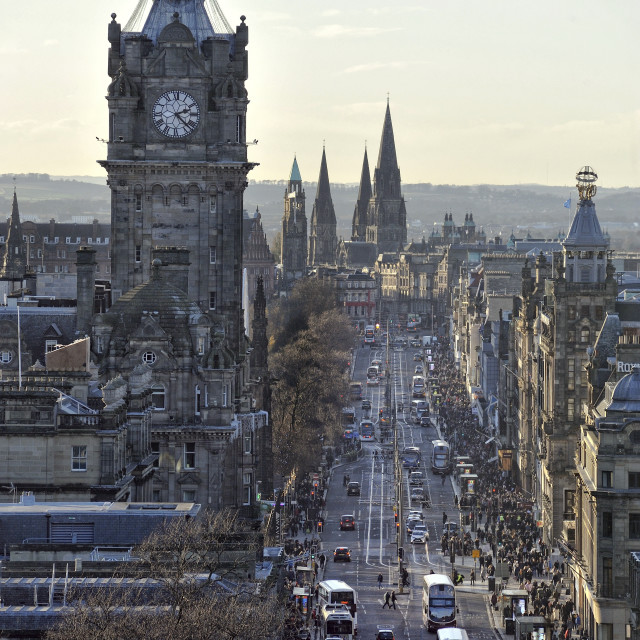 """Princes Street in Edinburgh, Scotland"" stock image"