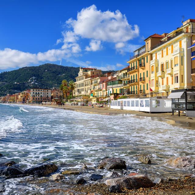 """Mediterranean beach in touristic town Alassio on italian Riviera, Italy"" stock image"
