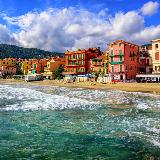 """Touristic town Alassio on italian Riviera, Italy"" stock image"