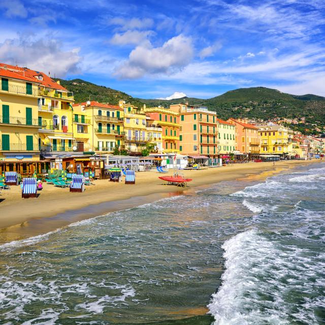 """Mediterranean sand beach in Alassio by San Remo on italian Riviera, Italy"" stock image"