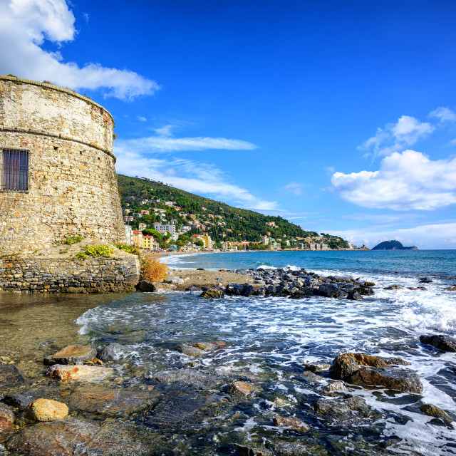 """""""Historical Saracen tower in Alassio, resort town on Riviera, Italy"""" stock image"""