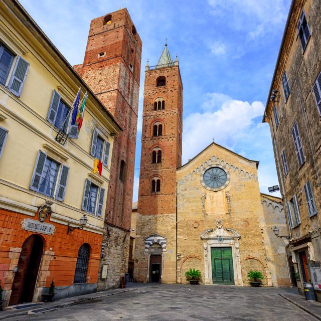 """Medieval historical town Albenga, Liguria, Italy"" stock image"