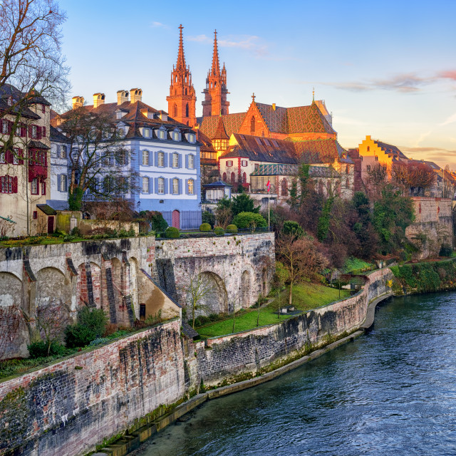 """""""Old town of Basel with Munster cathedral facing the Rhine river, Switzerland"""" stock image"""