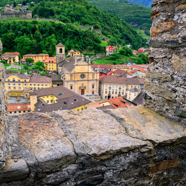 """Bellinzona, Switzerland, view through the castle walls to the old town"" stock image"