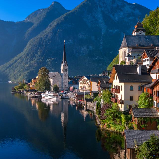 """""""Idyllic alpine lake village Hallstatt, Austria"""" stock image"""