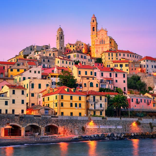 """Cervo on mediterranean coast of Liguria, Italy"" stock image"