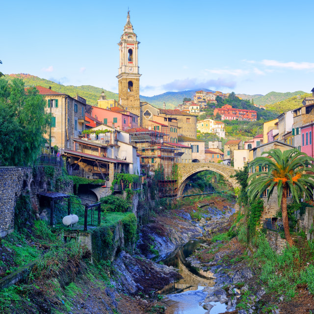 """Dolcedo, small italian town in the Maritime Alps, Liguria, Italy"" stock image"