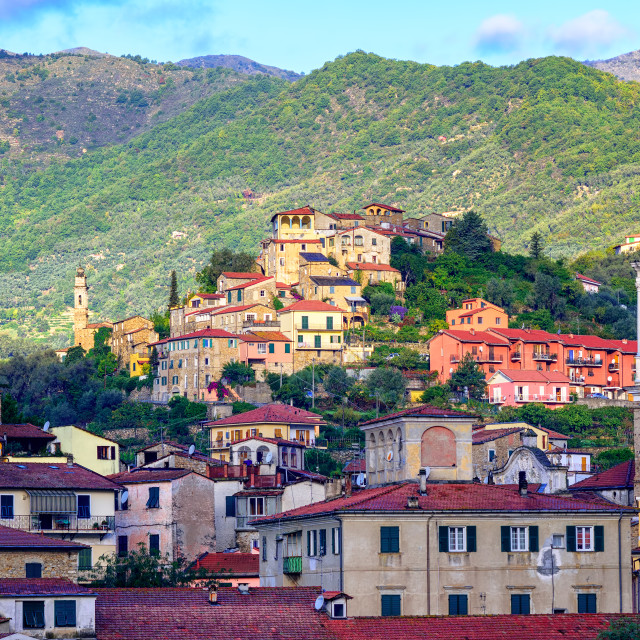 """Dolcedo, little italian town in the Maritime Alps mountain in Liguria, Italy"" stock image"