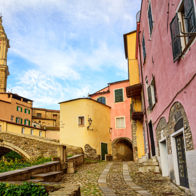 """""""Colorful houses in the old town of Dolcedo, Liguria, Italy"""" stock image"""