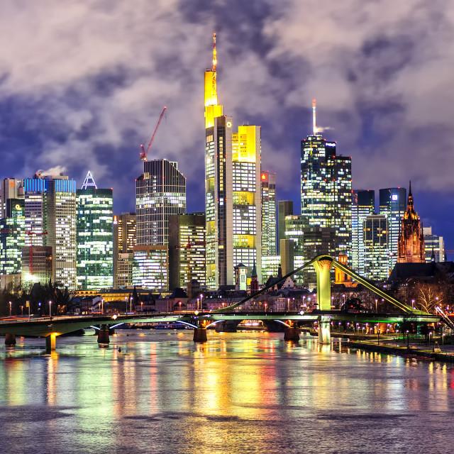 """Skyline of Frankfurt on Main, Germany, in the evening"" stock image"