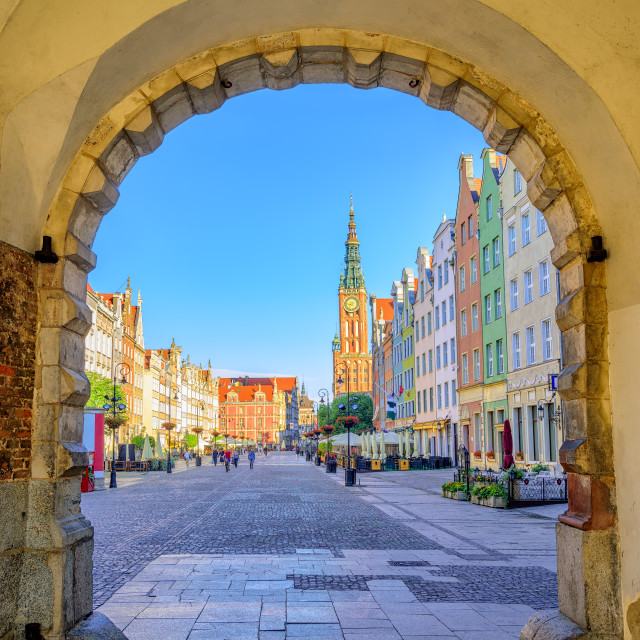 """""""Colorful gothic facades int the old town of Gdansk, Poland"""" stock image"""