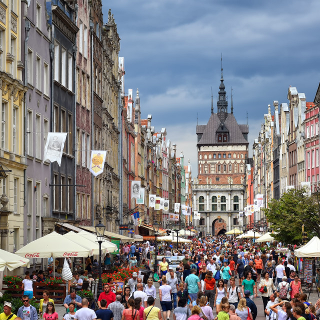 """""""Crowded pedestrian street in Gdansk, Poland, on a summer evening"""" stock image"""