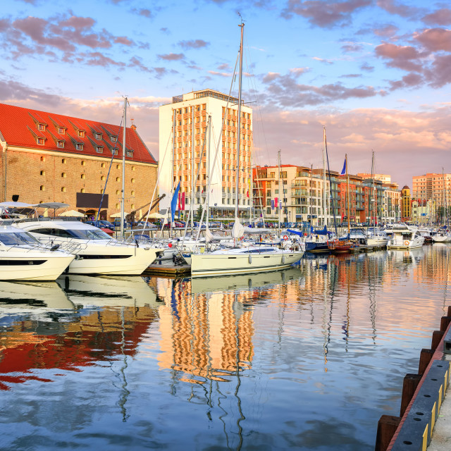 """""""Yachts in old town port of Gdansk, Poland"""" stock image"""